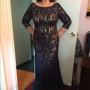 Dark Navy Blue Lacy Gown- EUC- Wedding or Maxi